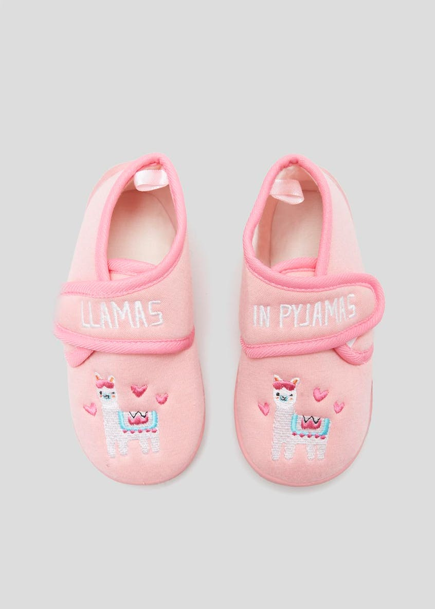 Girls Co-Ord Llamas in Pyjamas Slippers (Younger 4-12)