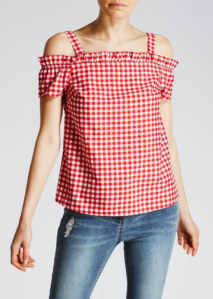 Gingham Frill Cold Shoulder Blouse