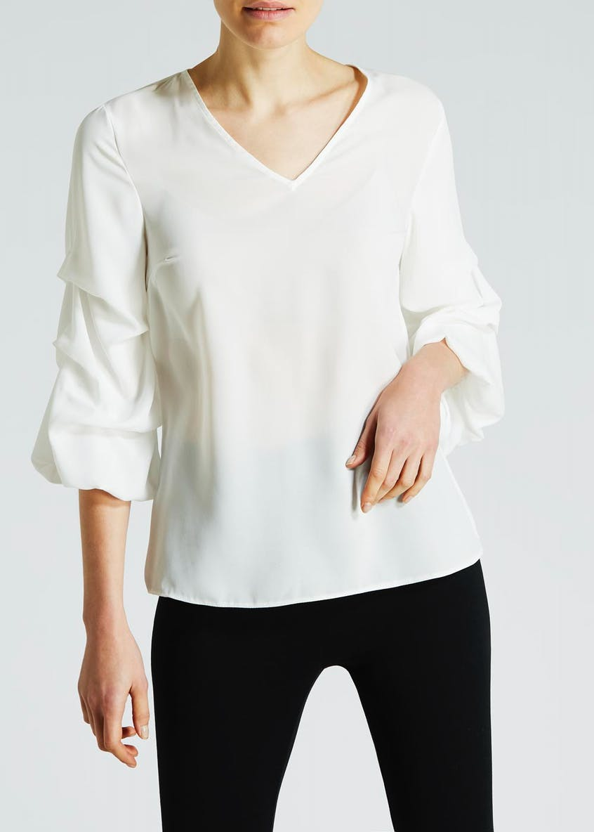 Ruched Balloon Sleeve Blouse