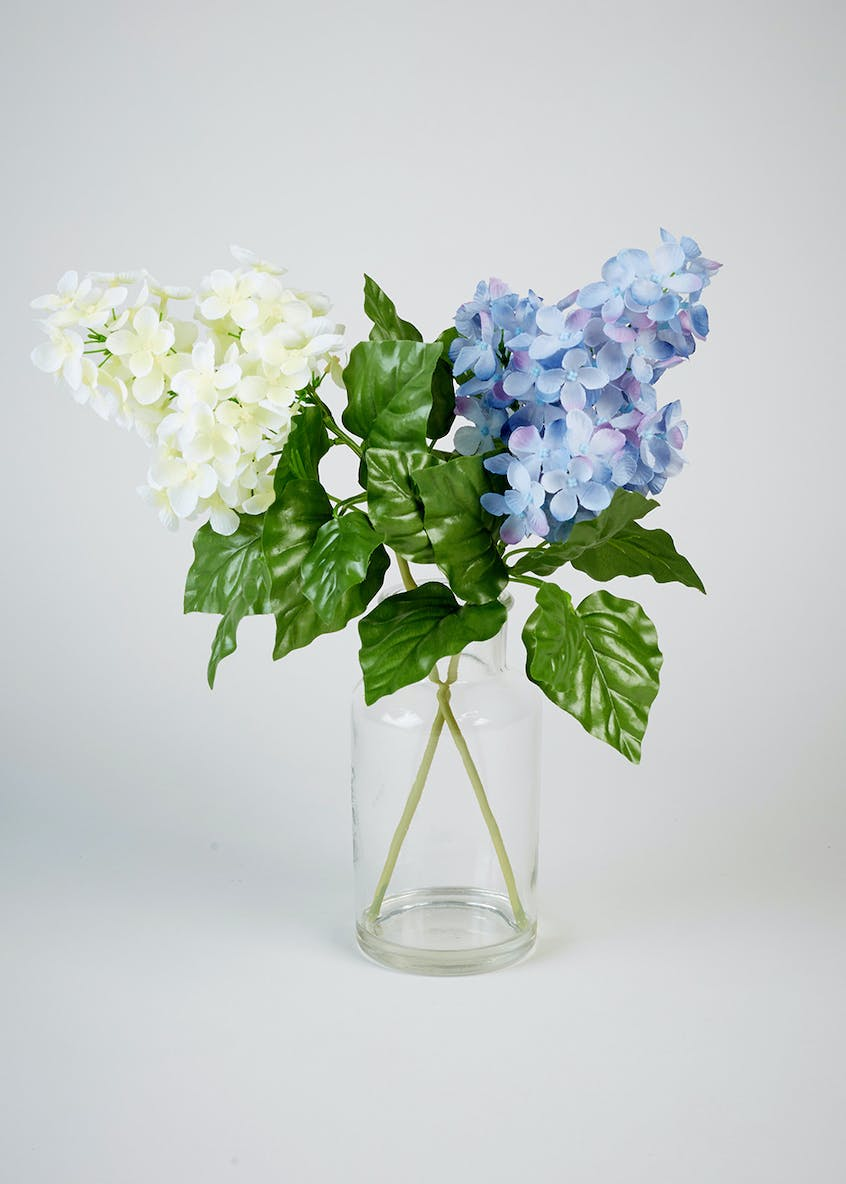 Artificial Hydrangeas in Glass Vase (35cm x 8cm)