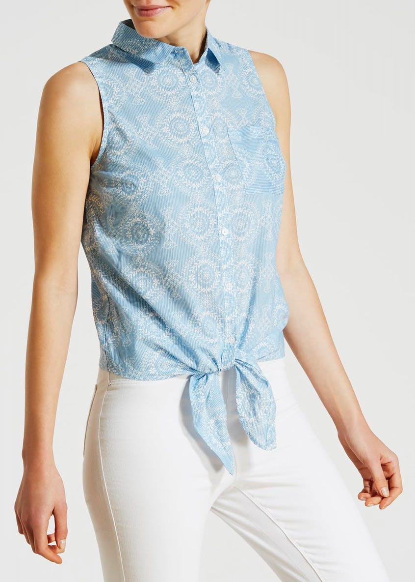 Embroidered Tie Front Sleeveless Blouse