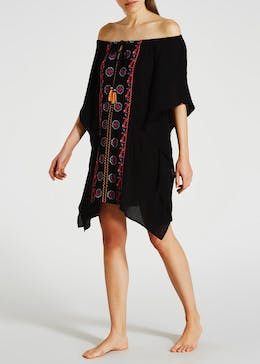 Floral Embroidered Bardot Kaftan