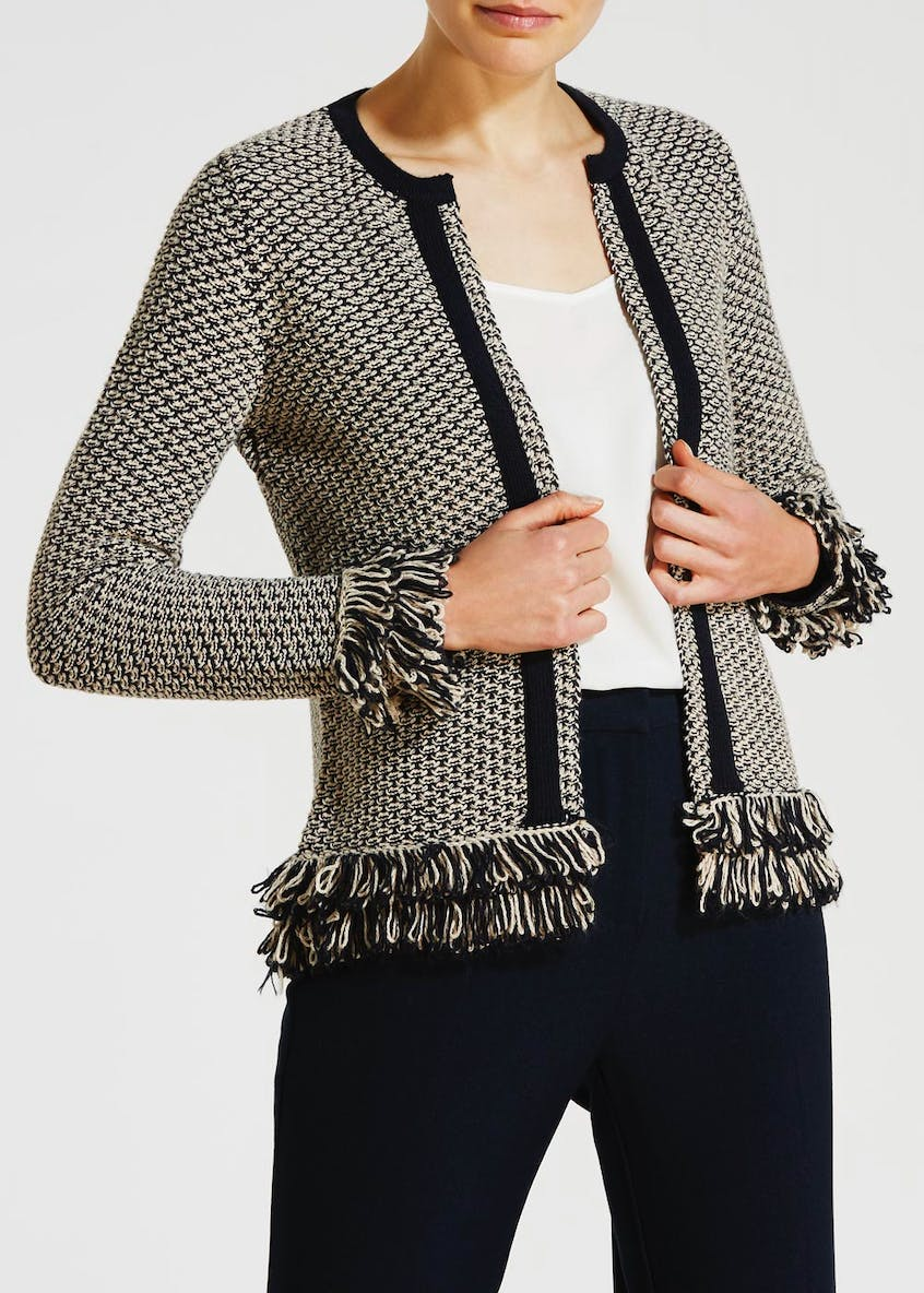 Lurex Textured Tassel Trim Cardigan