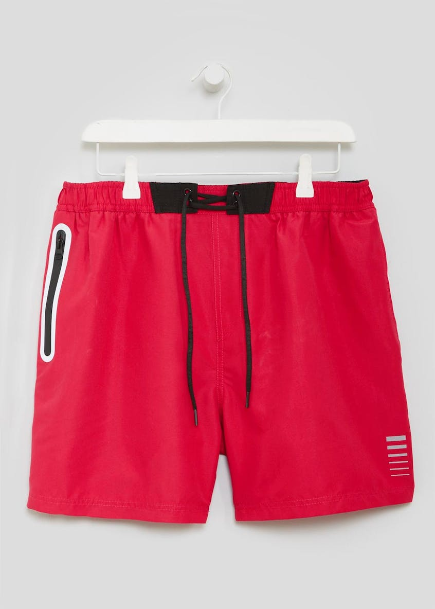 Coated Zip Pocket Swim Shorts