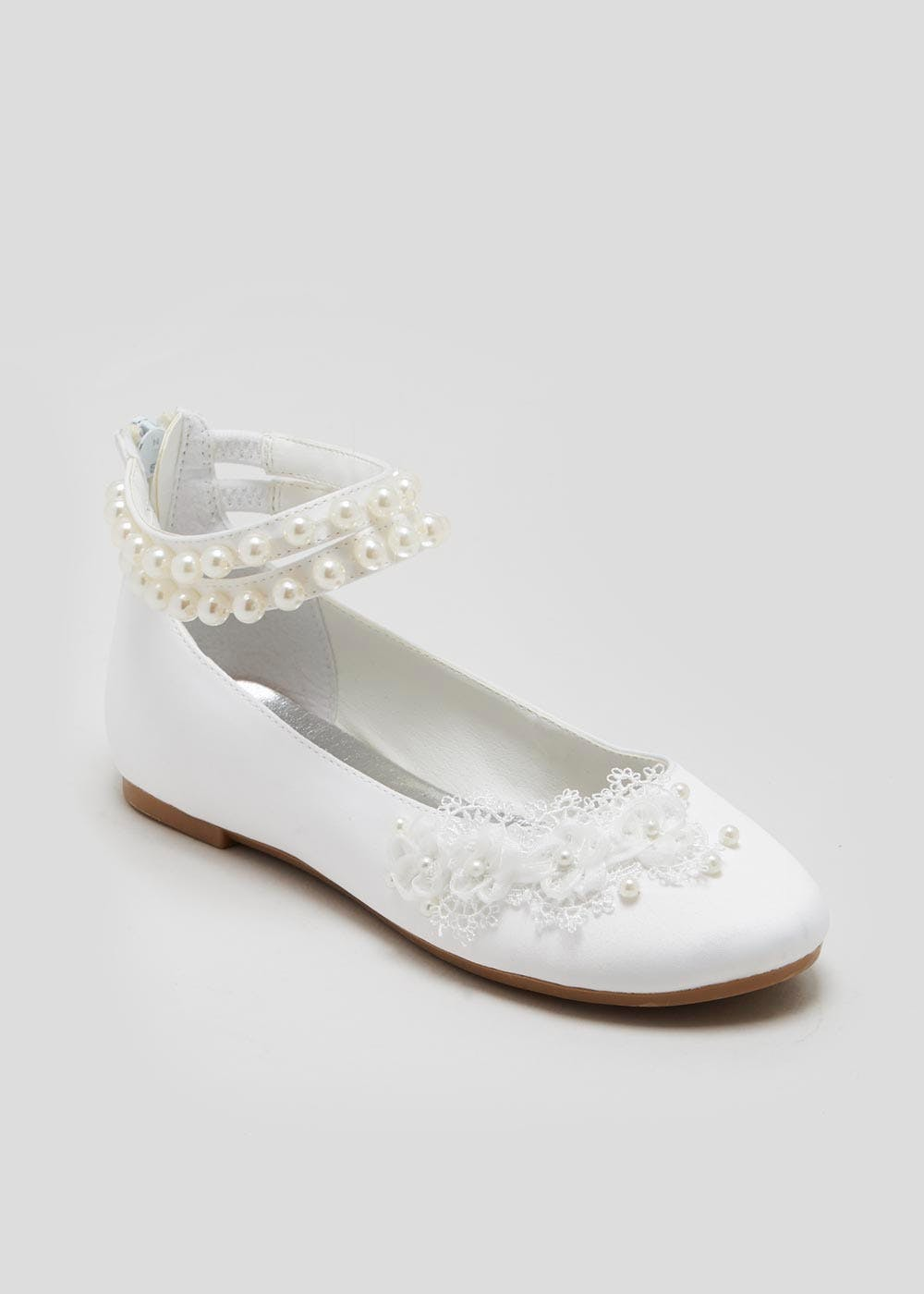 16d42021bd3 Girls Pearl Occasion Ballet Shoes (Younger 10-Older 5) – White – Matalan