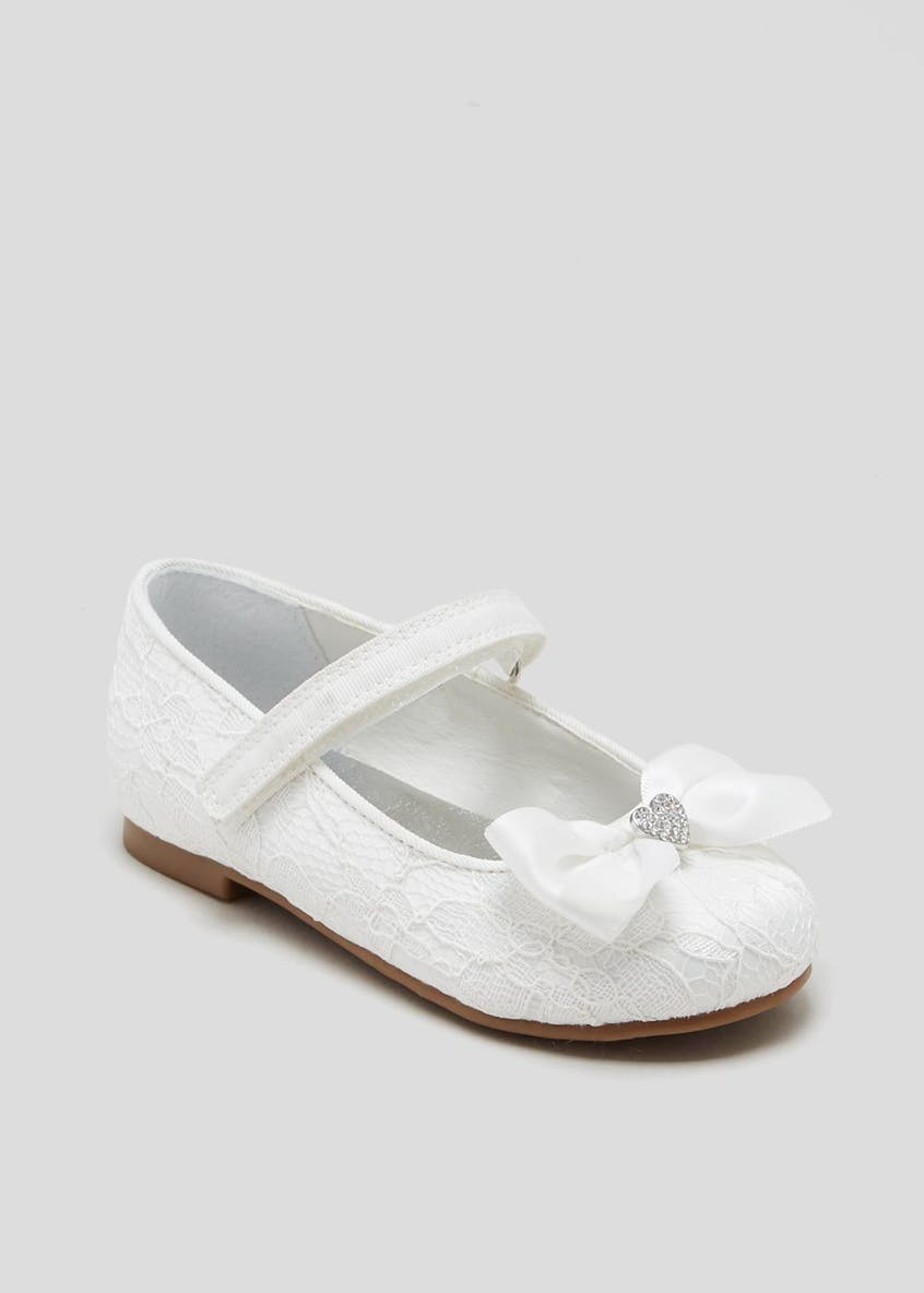 Girls Bow Heart Occasion Ballet Shoes (Younger 4-12)