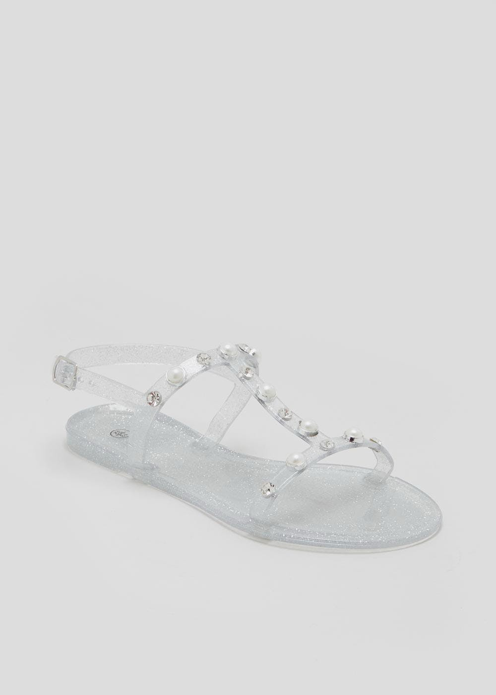09e62f513fe Girls Pearl Detail Jelly Sandals (Younger 10-Older 5) – Silver – Matalan