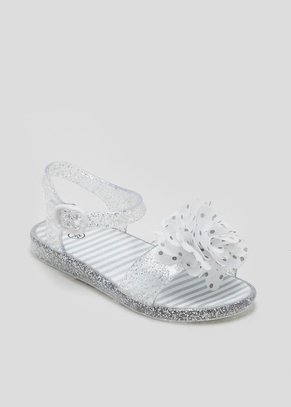 131e20f2343 Girls Flower Jelly Sandals (Younger 4-12) – Silver – Matalan