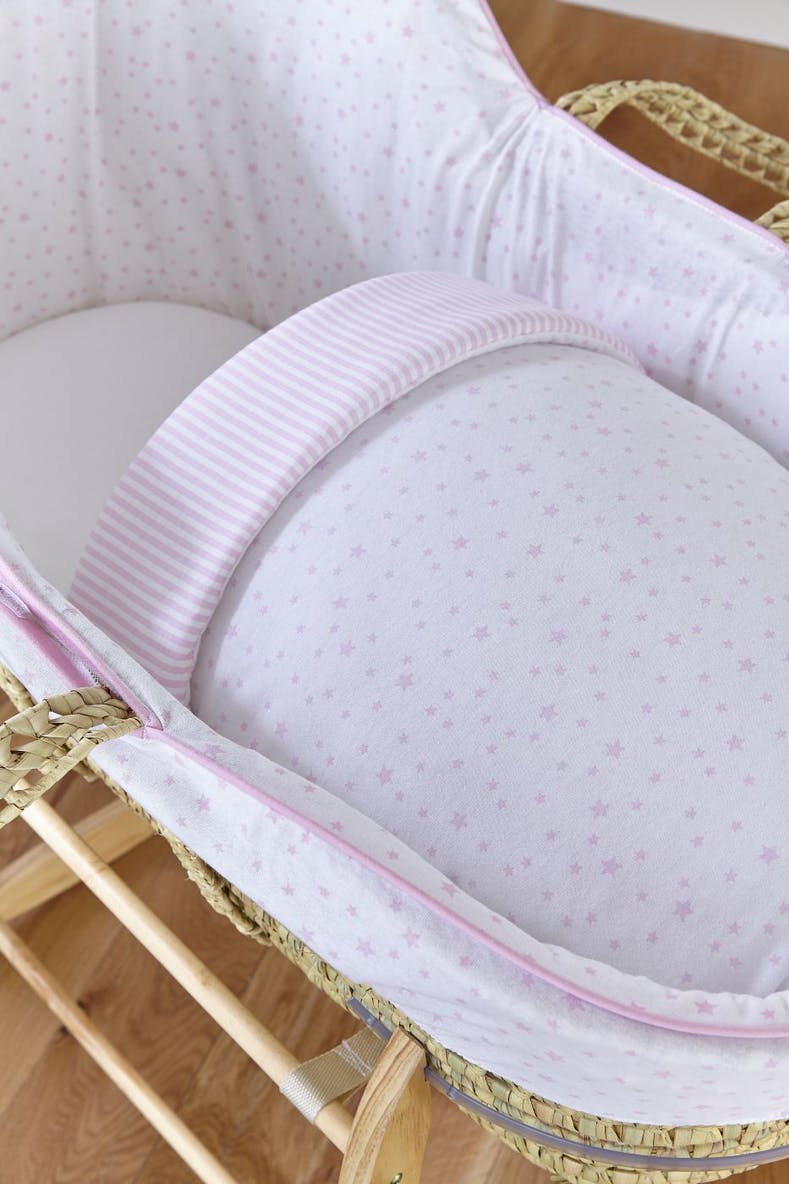 Claire de Lune Stars & Stripes High Top Palm Moses Basket (80cm x 35cm x 35cm)