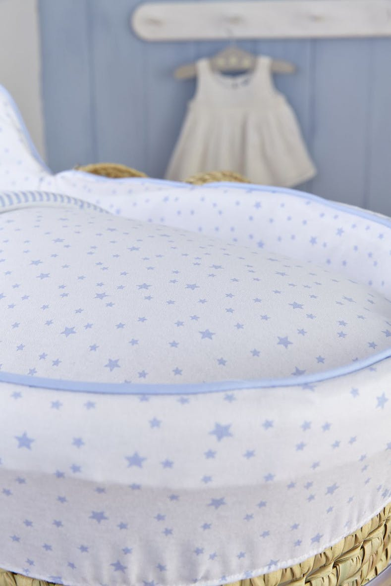 Clair de Lune Stars & Stripes High Top Palm Moses Basket (80cm x 35cm x 35cm)