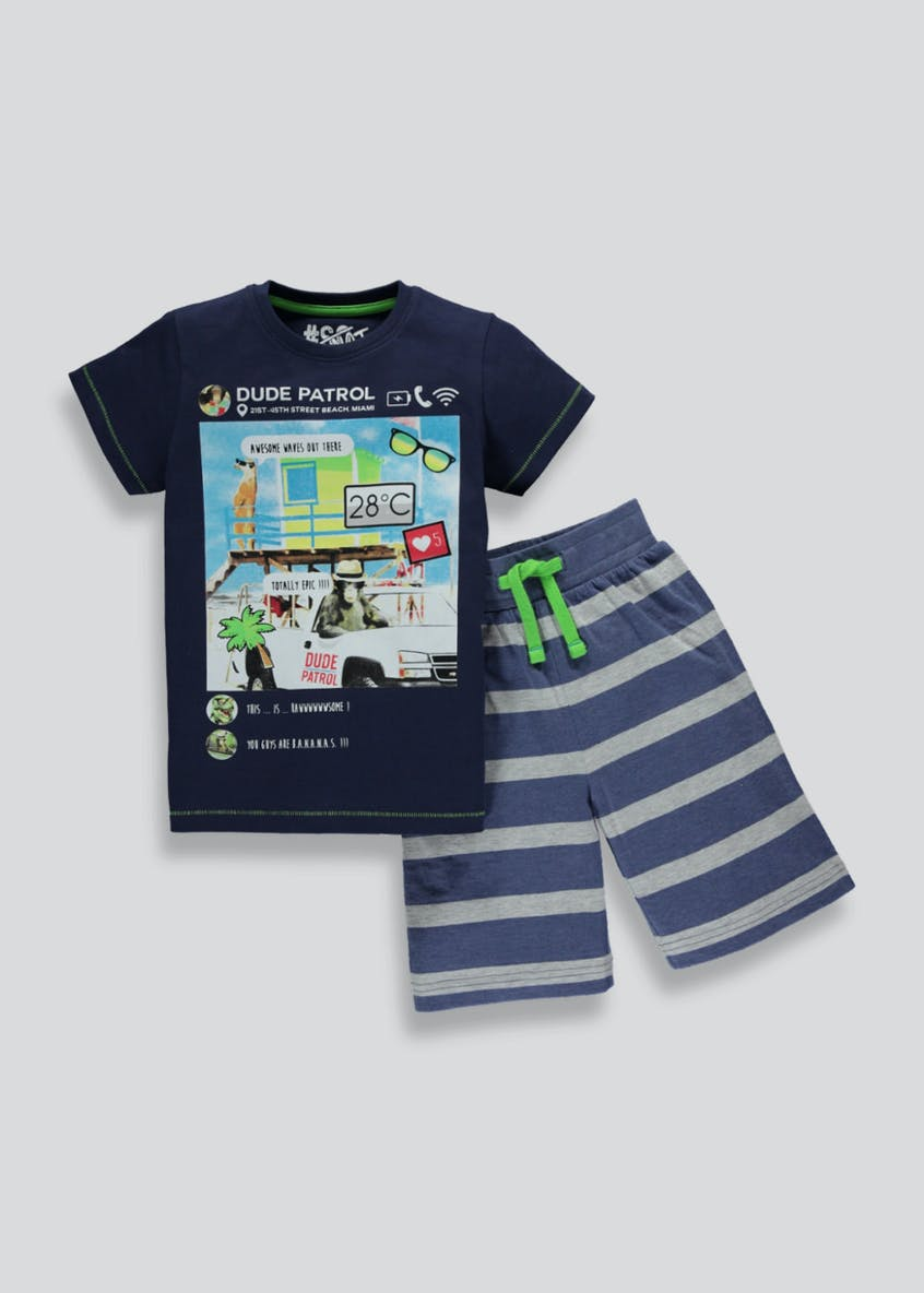 Boys Social Media Short Pyjama Set (4-13yrs)