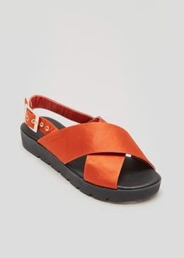 Satin Cross Strap Sandals