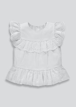 Girls Broderie Peplum Hem Top (3mths-6yrs)