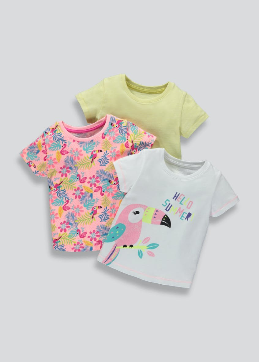 Girls 3 Pack Parrot T-Shirts (3mths-6yrs)
