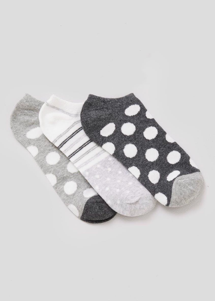3 Pack Spot & Stripe Trainer Socks