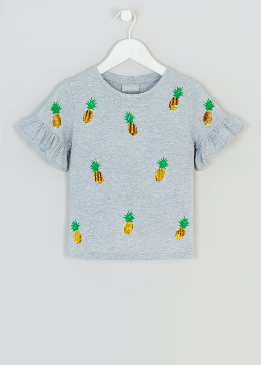 Girls Sequin Pineapple Frill T-Shirt (4-13yrs)