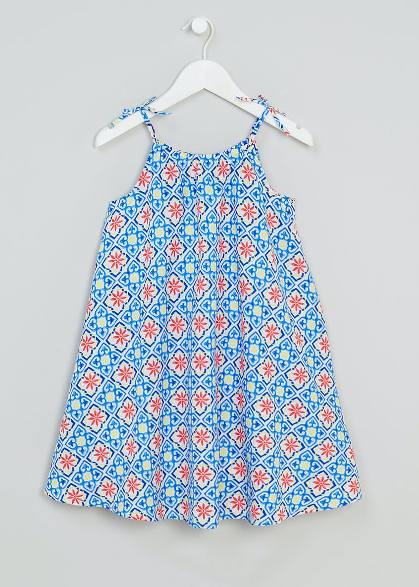 Girls Woven Tile Print Swing Dress (4-13yrs)