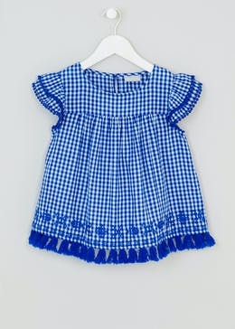 Girls Embroidered Gingham Top (4-13yrs)