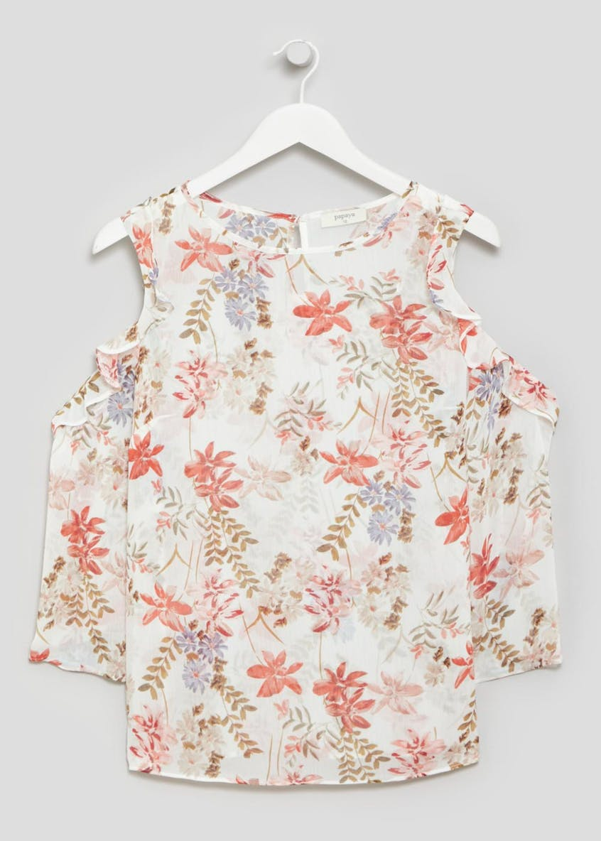 Floral Chiffon Cold Shoulder Blouse