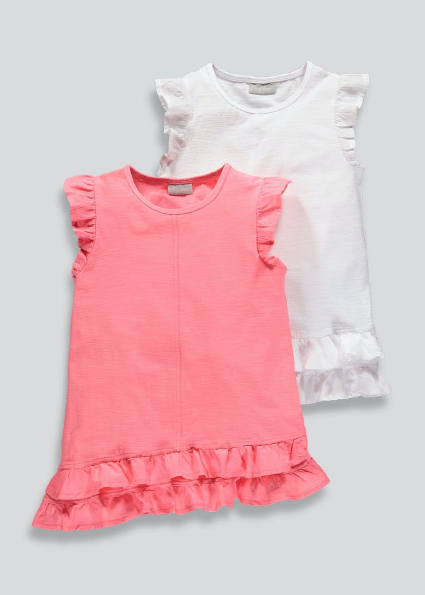 Girls 2 Pack Frill Vest Tops (4-13yrs)