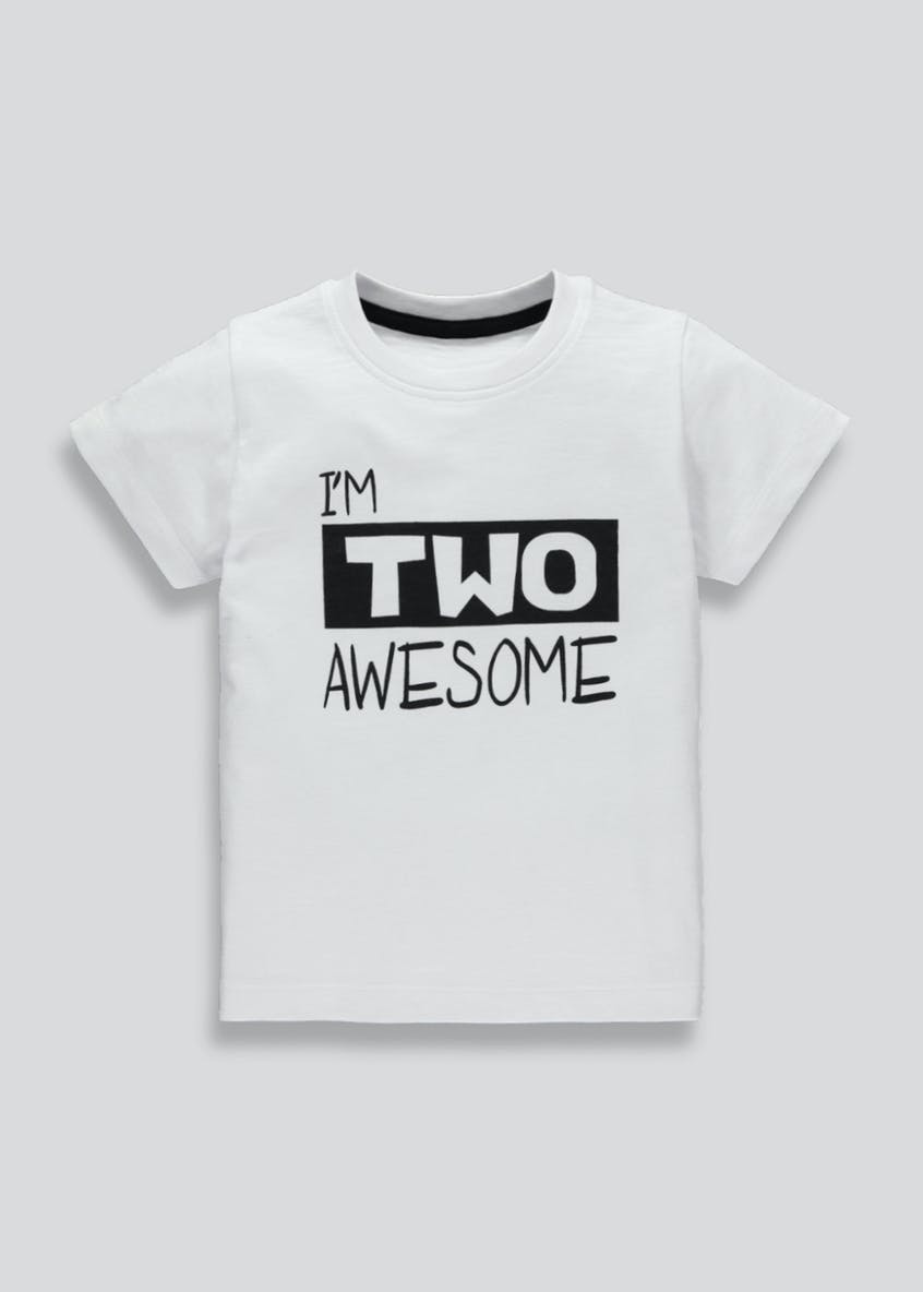 Boys Two Slogan T-Shirt (2yrs)
