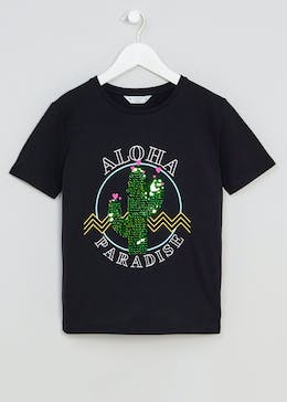 Girls Candy Couture Sequin Cactus T-Shirt (9-16yrs)