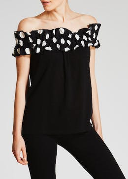 Polka Dot Ruffle Bardot Top