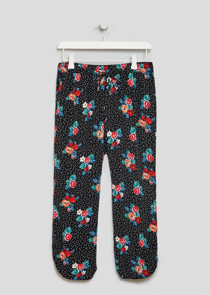 Floral Spot Viscose Cropped Trousers