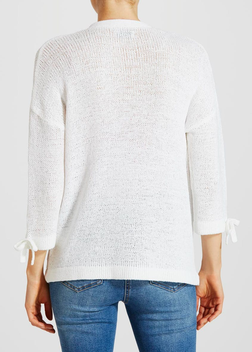 Bow Sleeve Edge to Edge Cardigan