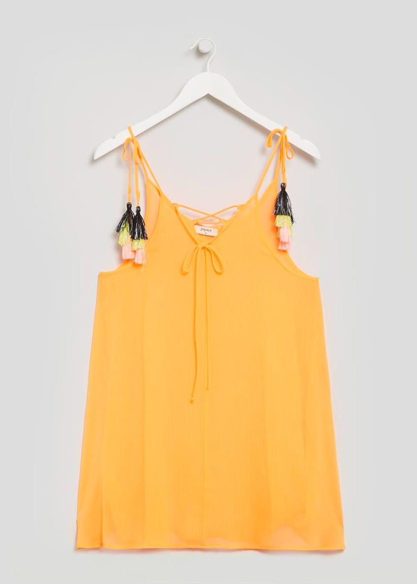 Tassel Tie Crinkle Swing Beach Dress
