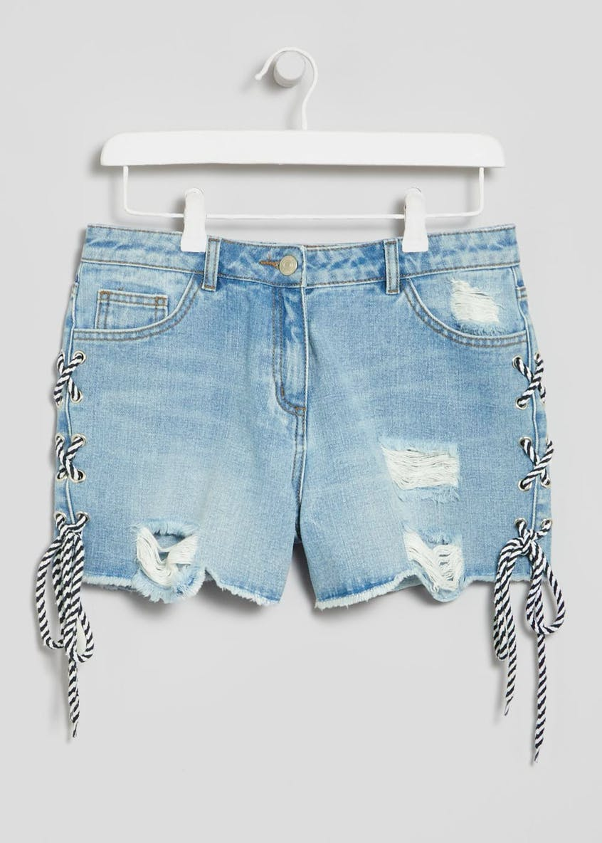 Lace Tie Distressed Denim Shorts