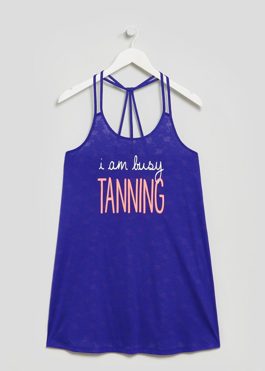 Tanning Slogan Vest Beach Dress