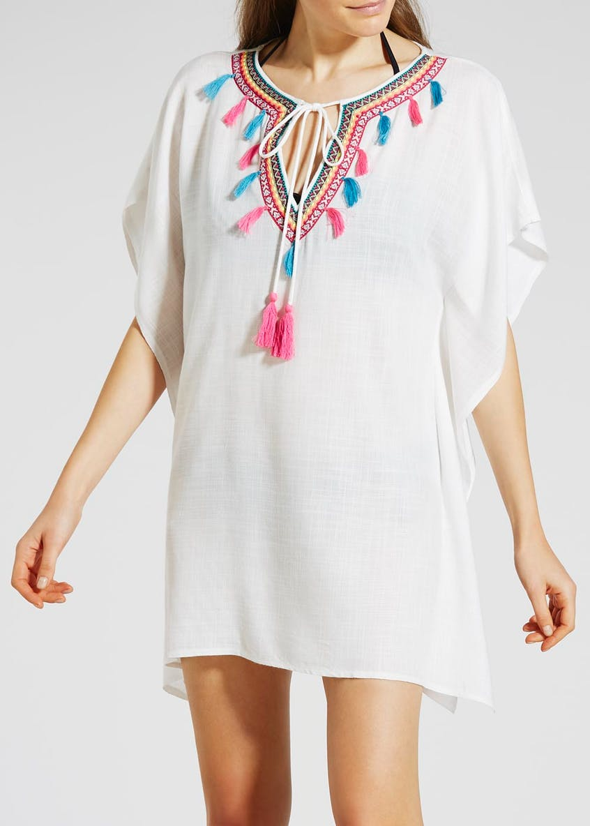 Embroidered Tassel Trim Kaftan