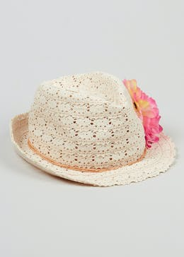 Girls Corsage Floppy Straw Hat (4-13yrs)