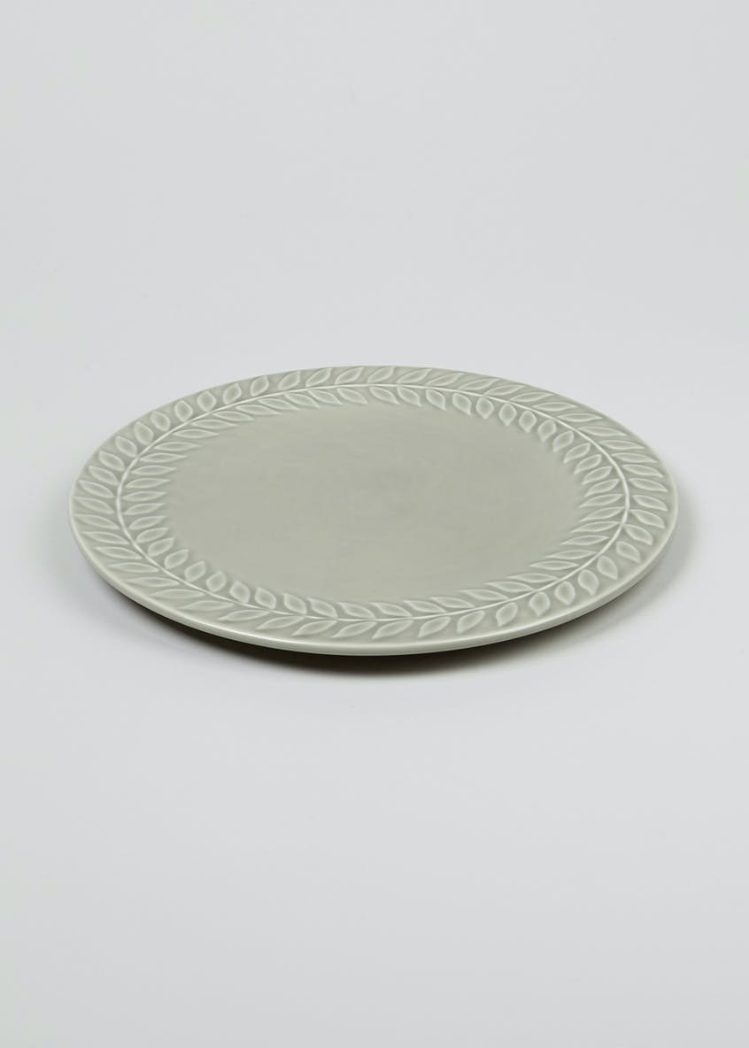 Embossed Leaf Print Dinner Plate (27cm)