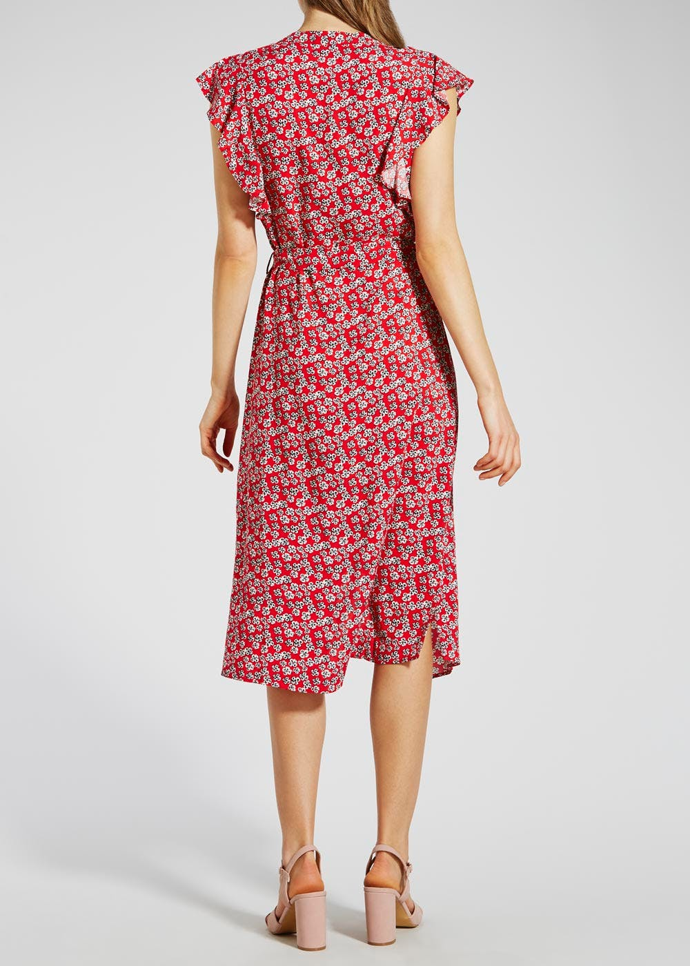 Floral Frill Midi Shirt Dress – Red – Matalan