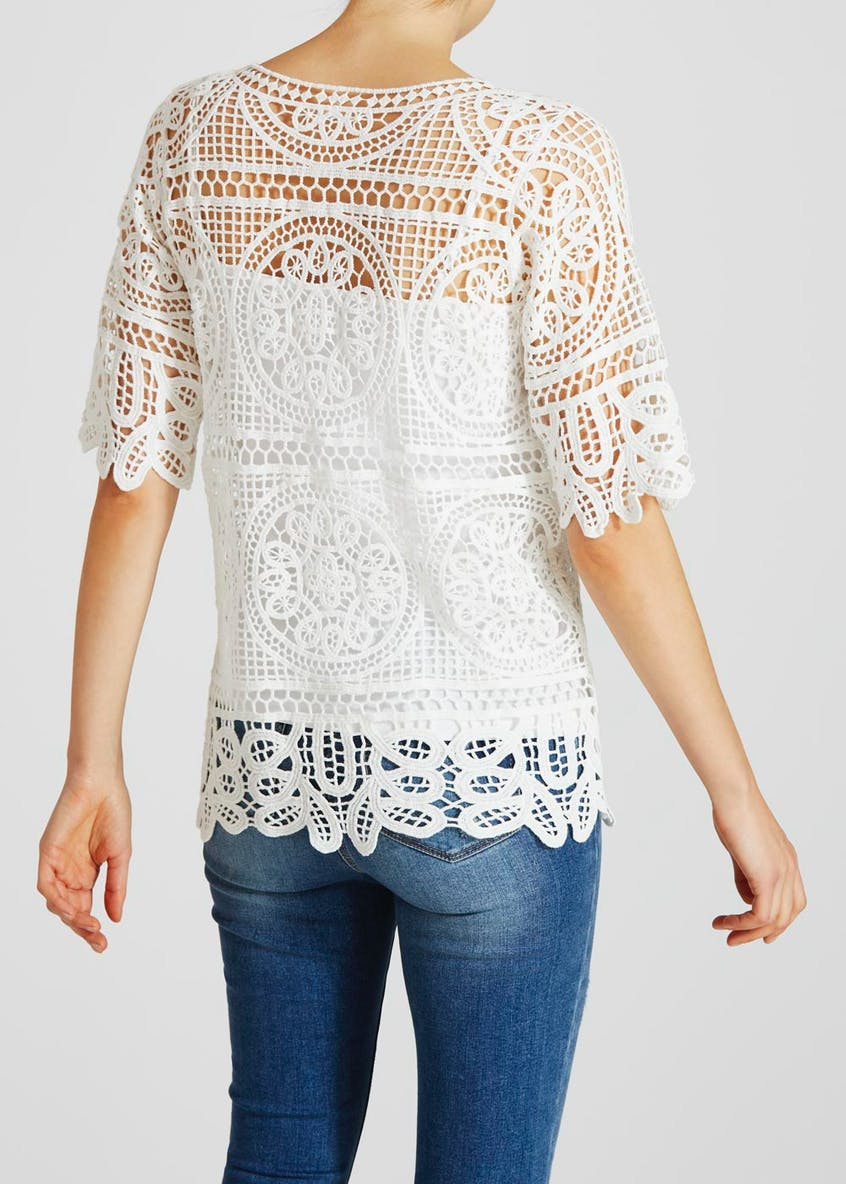 Woven Lace Knitted Top