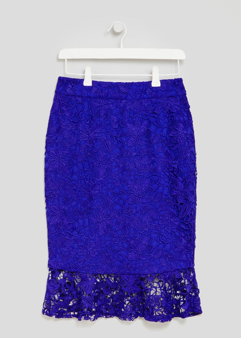 Soon Fluted Hem Floral Lace Pencil Skirt