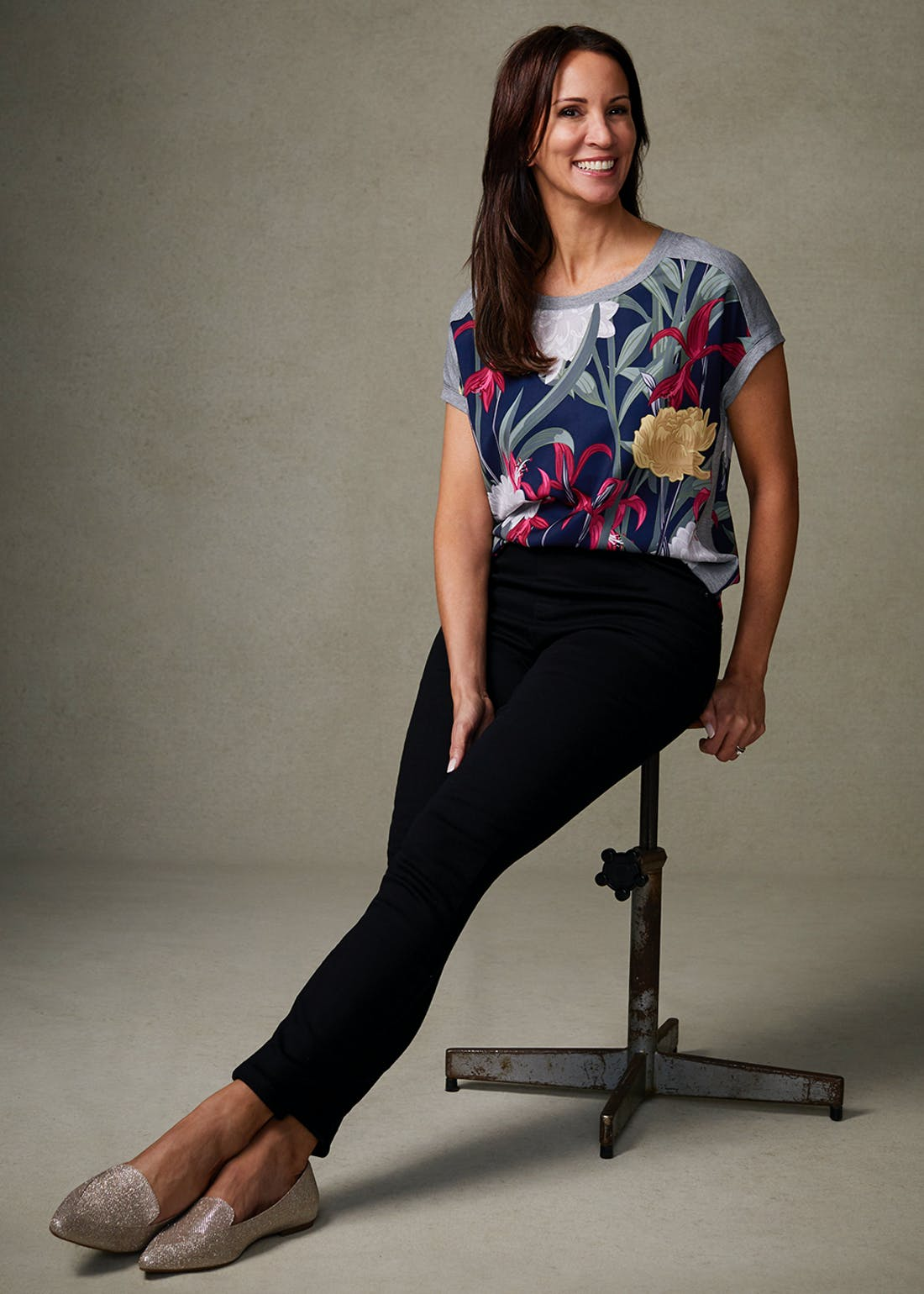 Soon Sorrento Floral Satin Front T-Shirt