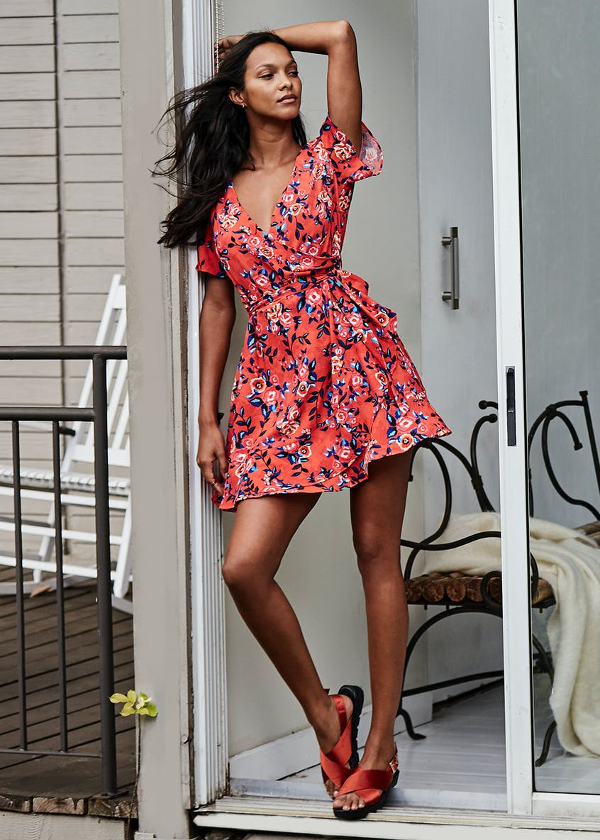 Floral Wrap Tea Dress