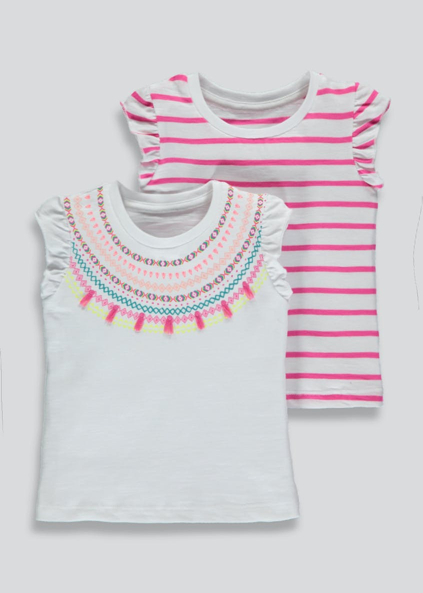 Girls 2 Pack Ruffle Sleeve T-Shirts (3mths-6yrs)