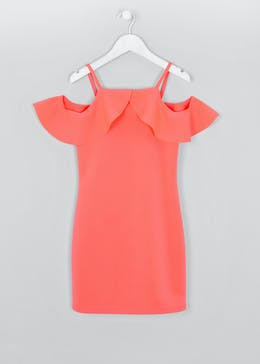 Girls Candy Couture Frill Cold Shoulder Dress (9-16yrs)