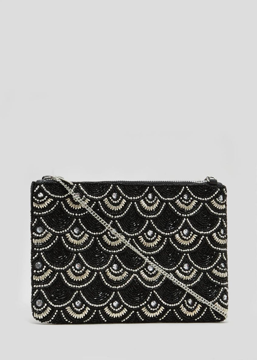 Wave Jewel Embellished Clutch Bag