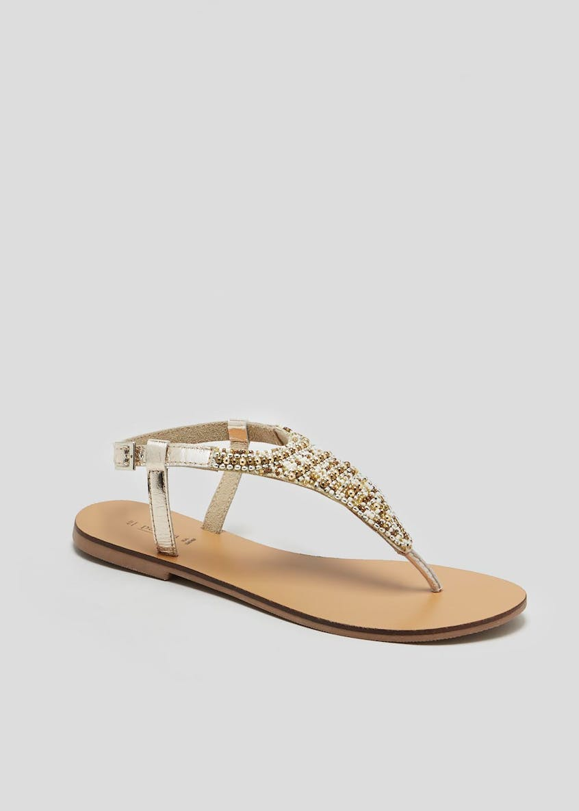 Real Leather Bead Embellished Toe Post Sandals