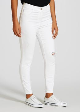 April Distressed Super Skinny Ankle Grazer Jeans