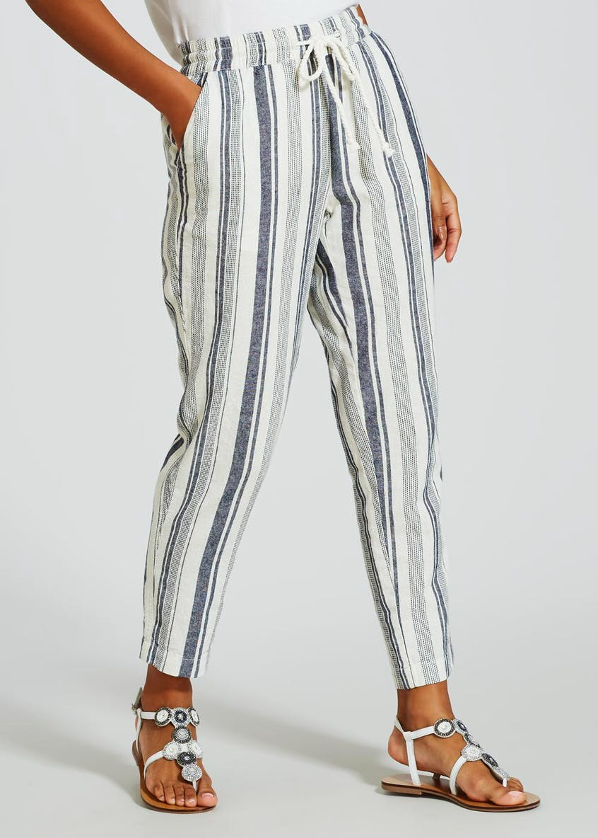 Stripe Tapered Linen Trousers