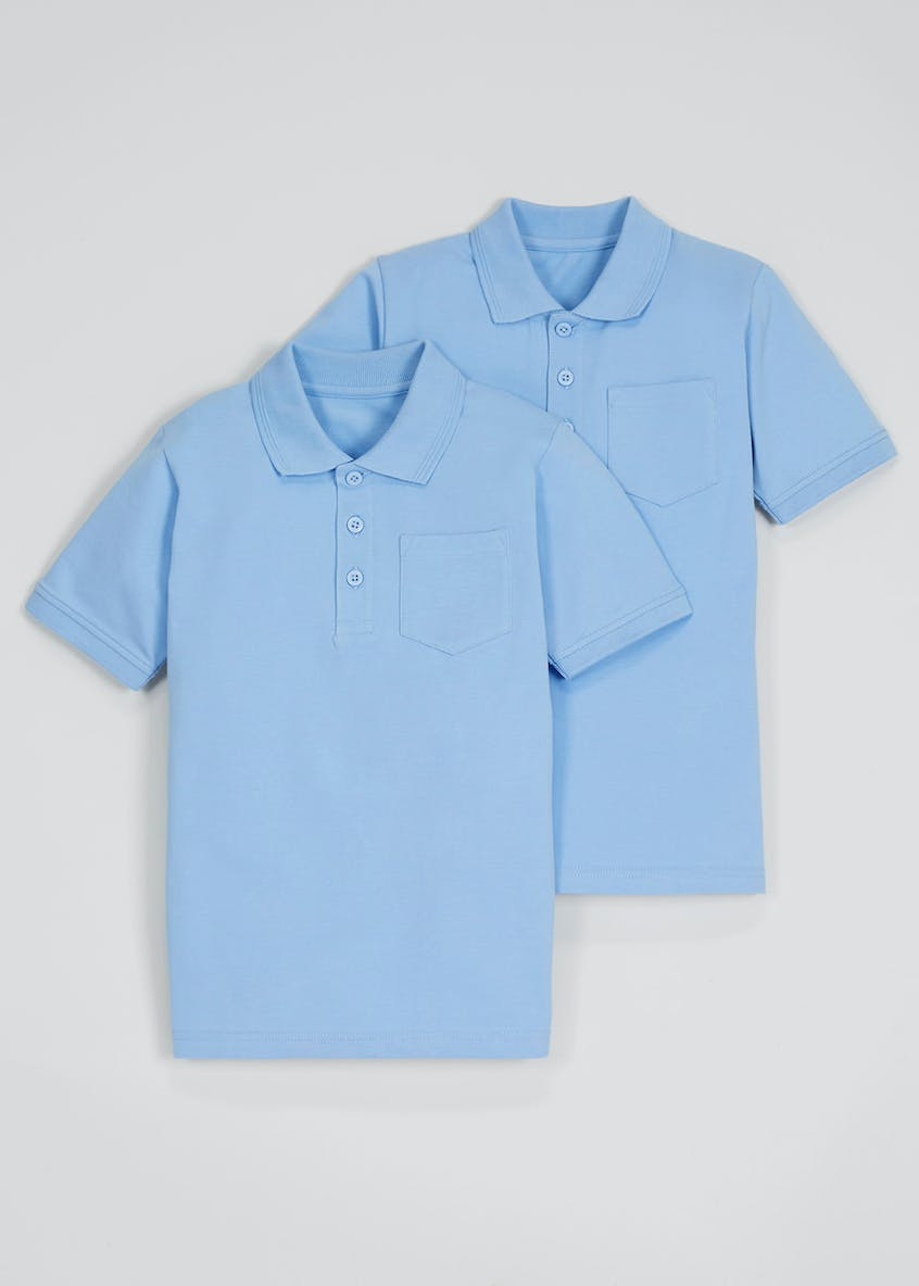 Unisex 2 Pack Slim Fit Polo Shirts (4-11yrs)