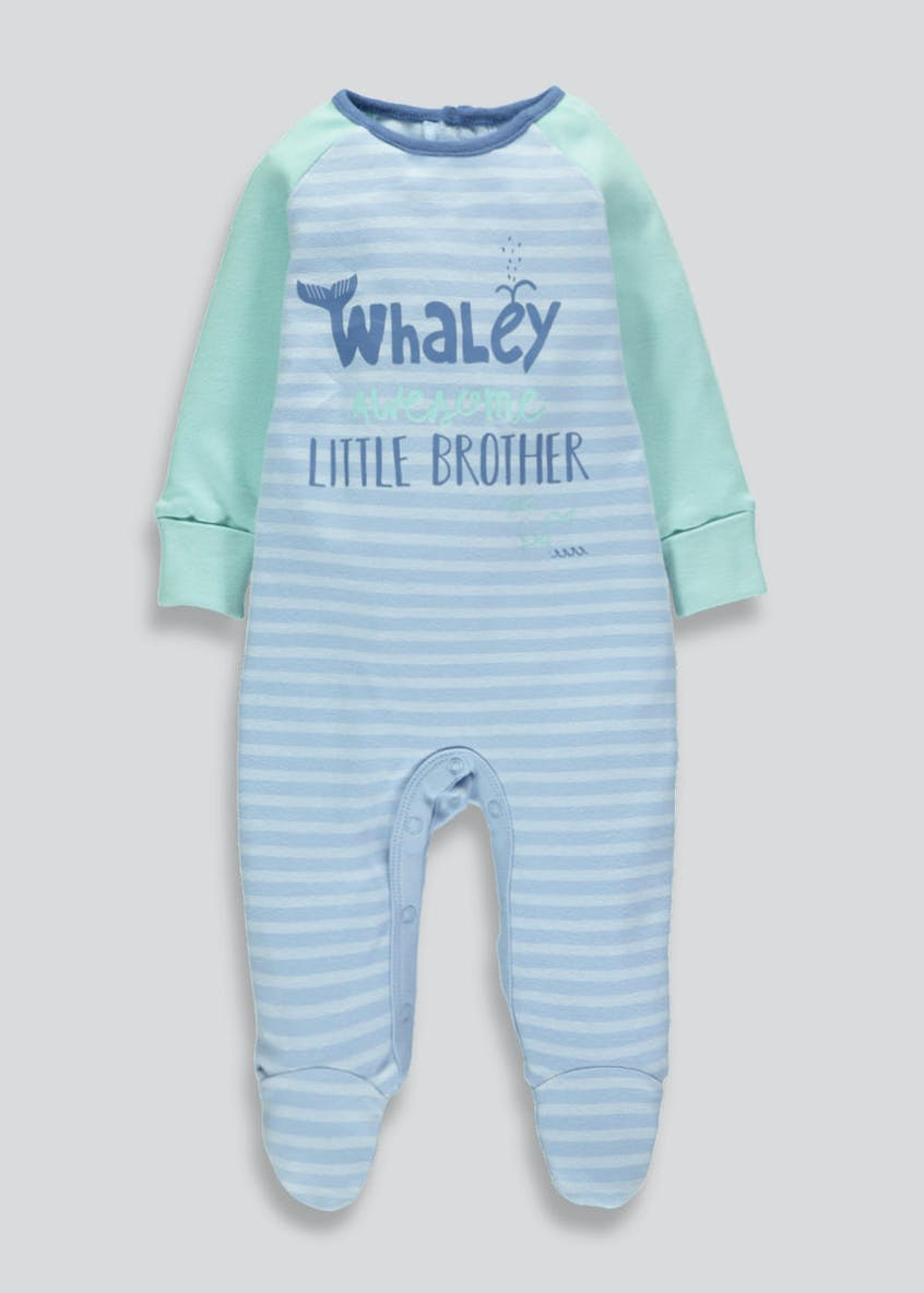 Boys Little Brother Slogan Sleepsuit (Tiny Baby-9mths)