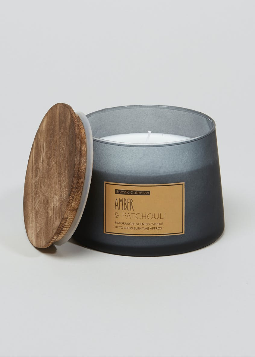 Amber & Patchouli Frosted Candle Jar (12cm x 10cm)