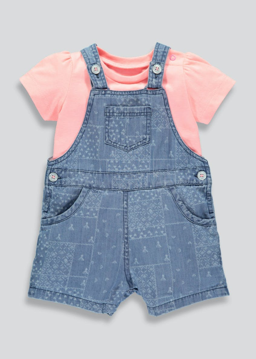 Girls Denim Dungarees & T-Shirt Set (Newborn-18mths)
